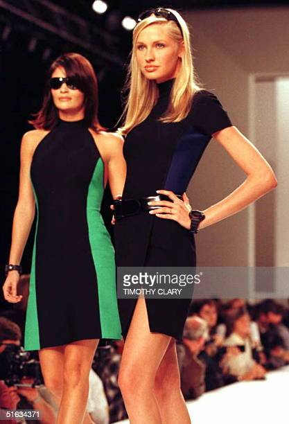 Models wear stretch body suits 01 November during the showing of Ralph Lauren's 1996 Spring/Summer fashions in New York AFP PHOTO Timothy CLARY