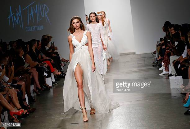 Models wearing Amy Taylor Collection walk the runway during the Fashion Palette Australia runway show during New York Fashion Week Spring 2015 at...