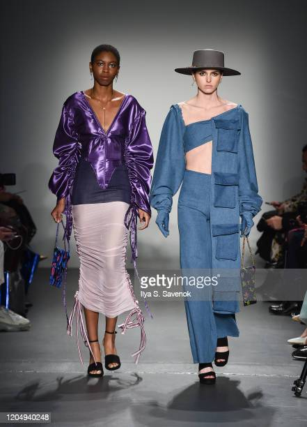 Models wearing Ashale with bags by SSY Designs hats by 20Summerslove and jewelry by Glamrocks Jewelry walk the runway during the Flying Solo...