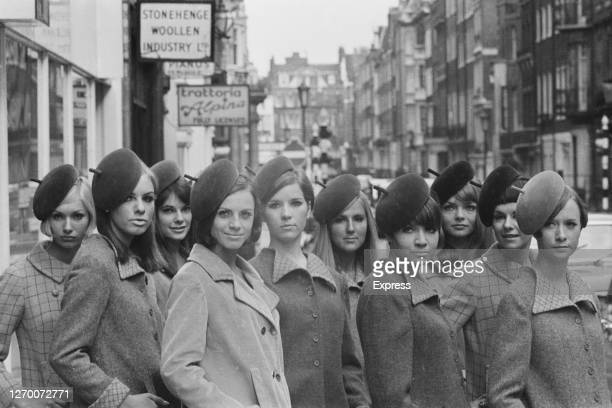 Models wearing berets as Christian Dior unveils his latest collection in the West End of London 5th September 1966
