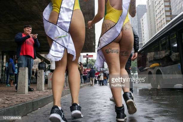 Models wearing bikinis perform at Paulista Avenue in Sao Paulo Brazil on August 6 to promote the Miss Bumbum Brazil 2018 pageant