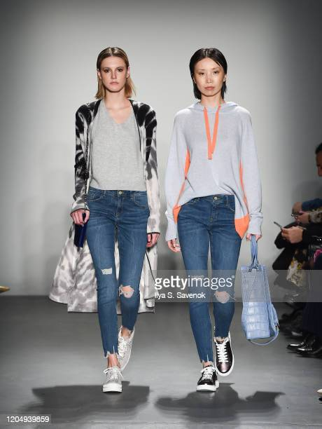 Models wearing Brodie Cashmere with bags by SSY Designs and accessories by Norton and Hodges walk the runway during the Flying Solo ReadyToWear...