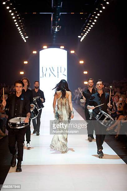 Models wearing Camilla at the opening of the 2015 Melbourne Fashion Festival on March 14 2015 in Melbourne Australia