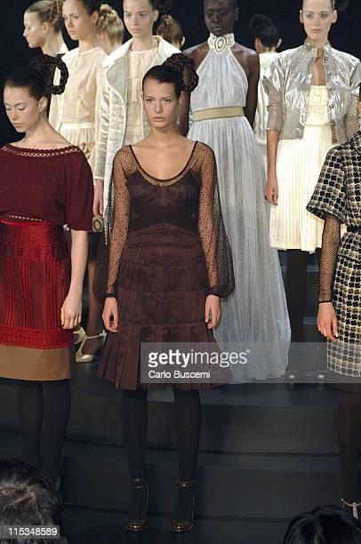 Models wearing Catherine Malandrino Fall 2006 during Olympus Fashion Week Fall 2006 Catherine Malandrino Runway at Roseland Ballroom in New York City...