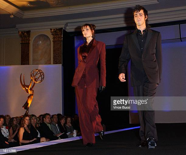 Models wearing clothing designs by Jil Sander and Badgley Mischka at the Academy of Television Arts and Sciences 'Fashion Night With Emmy' fashion...
