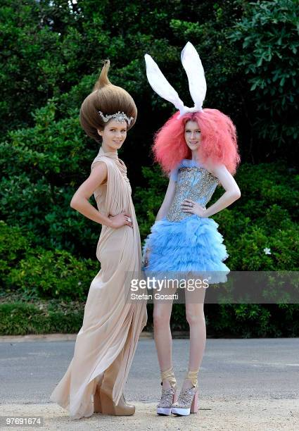 Models wearing Collette Dinnigan and Akira pose at the Opening Night Party for the 2010 L'Oreal Melbourne Fashion Festival at Government House on...