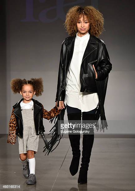 Models wearing designs from laer* at petitePARADE / Kids Fashion Week NYC October 2015 at Spring Studios on October 17 2015 in New York City