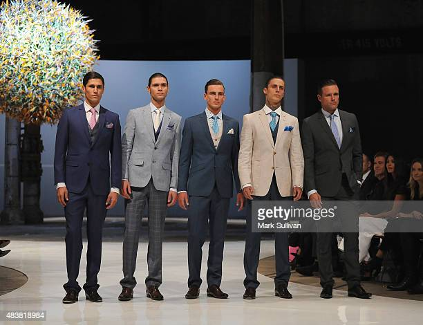 Models wearing Dom Bagnato during the Myer Spring 2015 Fashion Launch on August 13, 2015 in Sydney, Australia.