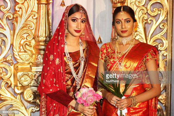 Models wearing elegant bridal sarees during the Amrapali 2018 fashion exhibition held in Markham Ontario Canada on March 11 2018