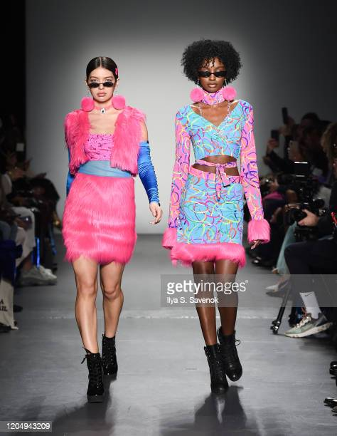 Models wearing Emma Altman walk the runway during the Flying Solo Ready-To-Wear February 2020 runway show at Pier 59 Studios on February 8, 2020 in...