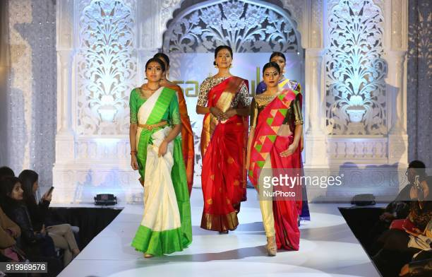 Models wearing exquisite saris during a South Asian bridal fashion show held in Toronto Ontario Canada on February 17 2018