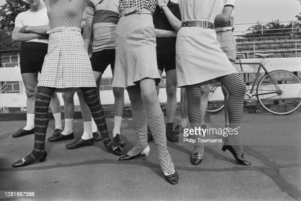 Models wearing fashion stockings, UK, August 1965.