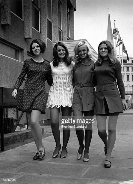 Models wearing four variations on the mini dress, 6th October 1967. Left to right: Sandra Kristensen, Patricia Madden, Kathleen Brown and Caroline...
