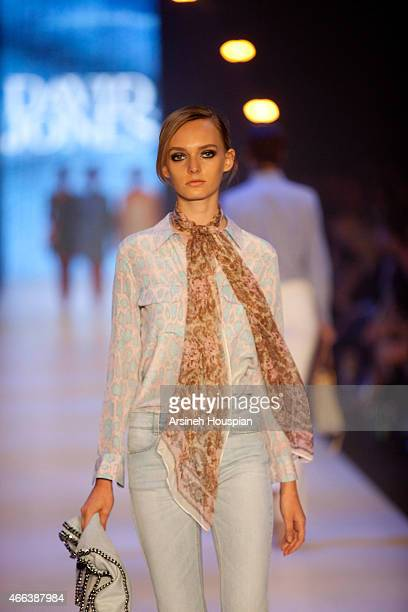 Models wearing Frame Denim at the opening of the 2015 Melbourne Fashion Festival on March 14 2015 in Melbourne Australia