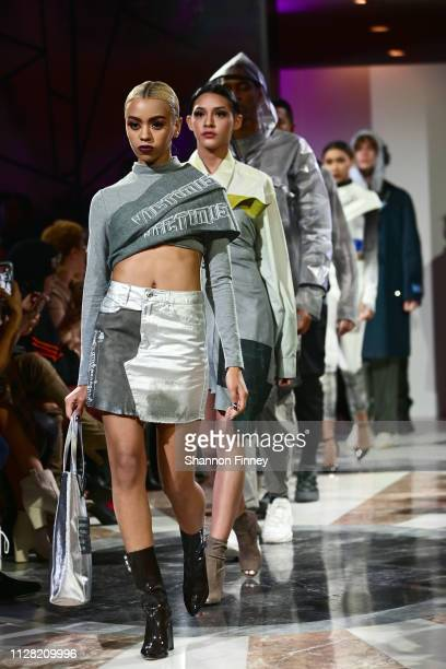 Models wearing looks from designer Shareef Mosby's Victim15 at the District of Fashion Fall/Winter 2019 Runway Show on February 07 2019 at the...