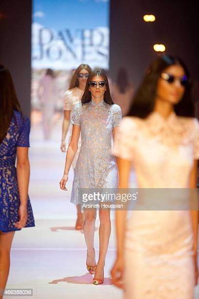 Models wearing Lover at the opening of the 2015 Melbourne Fashion Festival on March 14 2015 in Melbourne Australia