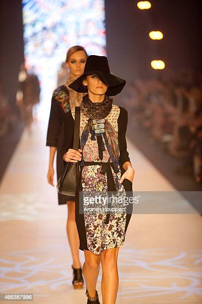Models wearing Megan Park at the opening of the 2015 Melbourne Fashion Festival on March 14 2015 in Melbourne Australia