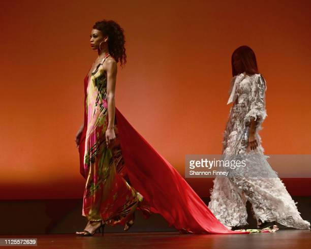 Models wearing pieces by designer Adrian Alicea during the Art of Fashion Runway Show on January 27 2019 in Silver Spring Maryland