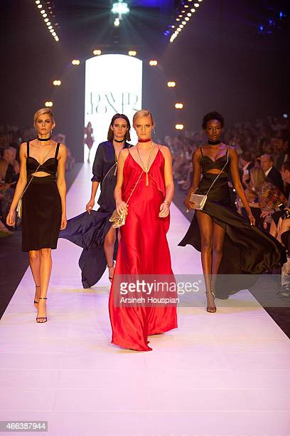 Models wearing Rachel Gilbert at the opening of the 2015 Melbourne Fashion Festival on March 14 2015 in Melbourne Australia