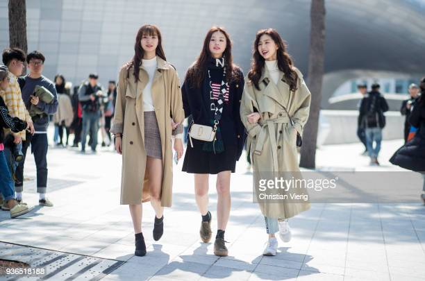 Models wearing trench coat seen at the Hera Seoul Fashion Week 2018 F/W at Dongdaemun Design Plaza on March 22 2018 in Seoul South Korea