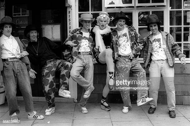 Models wearing Vivienne Westwood clothes outside the Worlds End Shop London 1980's