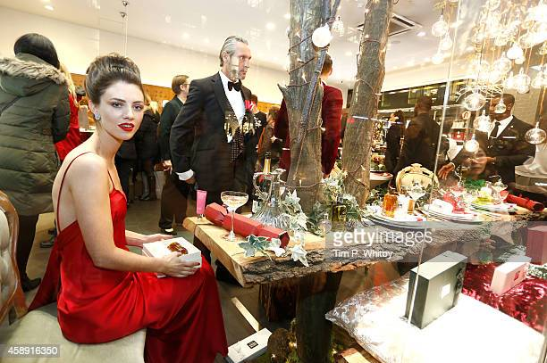 Models who star in the Molten Brown Christmas campaign helps to re-create 'The Molton Brown Splendid Christmas' Party' at the flagship store on...