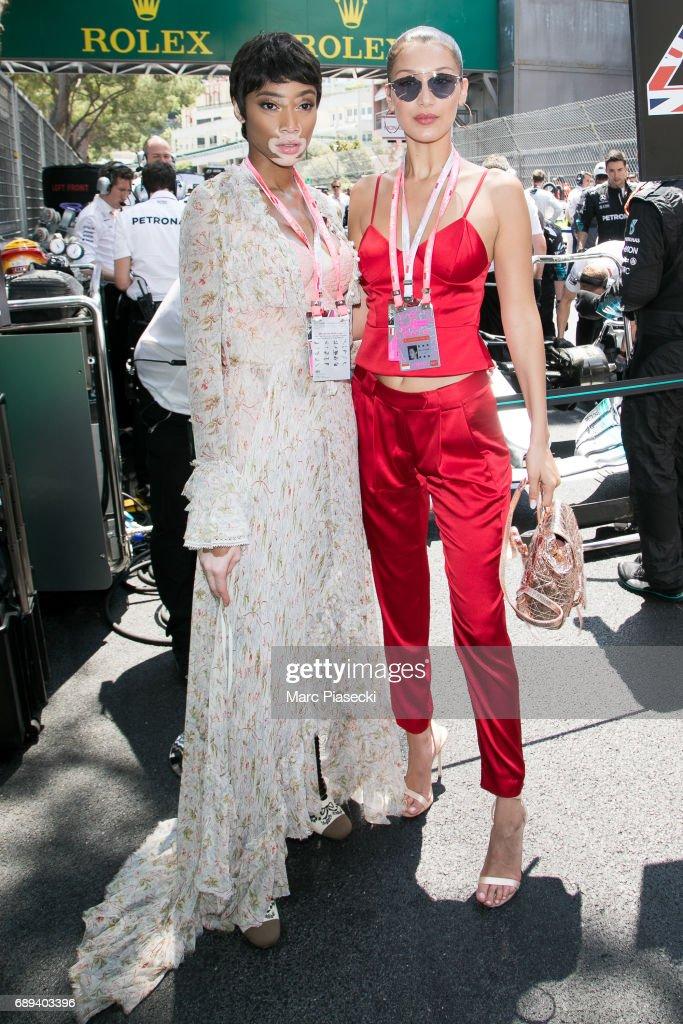 Models Winnie Harlow and Bella Hadid attend the Monaco Formula 1 Grand Prix at the Monaco street circuit, on May 28, 2017 in Monaco.