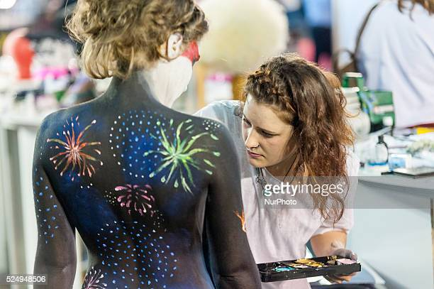 Models with full body makeup during the preparation of the international competition of bodypainting held at the fair Cosmobelleza in Barcelona on 11...