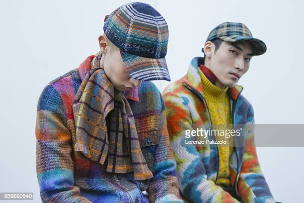 Models Wooseok Lee and Do Byung Wook are seen backstage ahead of the Missoni show during Milan Men's Fashion Week Fall/Winter 2017/18 on January 15...