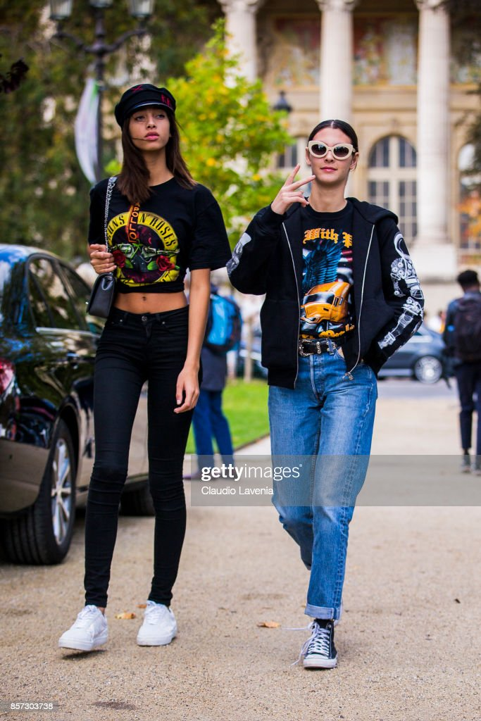 Models Yasmin Wijnaldum and Vittoria Ceretti are seen on the streets of Paris, after the Chanel show during Paris Fashion Week Womenswear SS18 on October 3, 2017 in Paris, France.