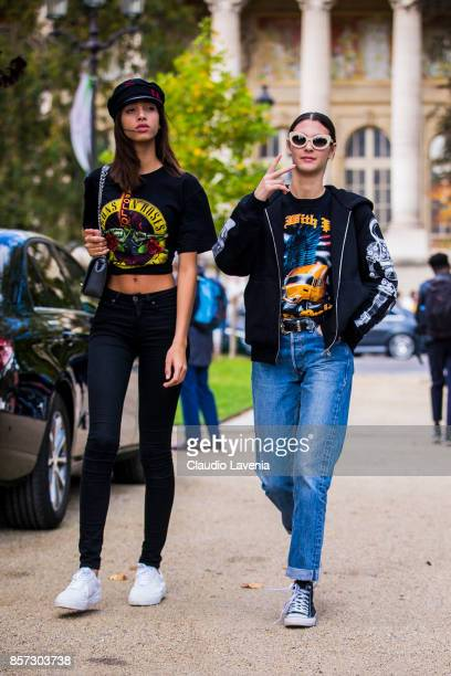 Models Yasmin Wijnaldum and Vittoria Ceretti are seen on the streets of Paris after the Chanel show during Paris Fashion Week Womenswear SS18 on...