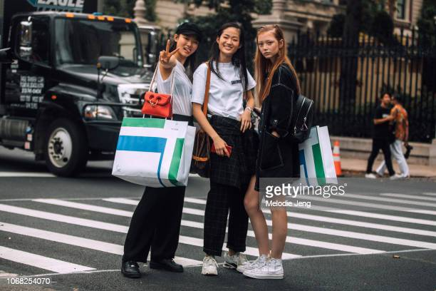 Models Yoon Young Bae Hyun Ji Shin Sara Wallerstedt after the Tory Burch show during New York Fashion Week Spring/Summer 2019 on Sept York City Yoon...