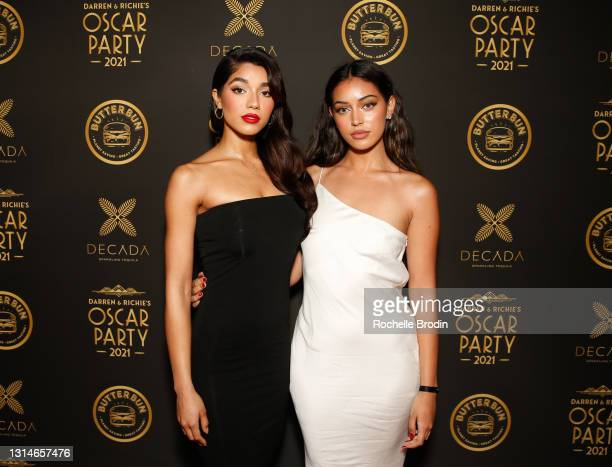 Models Yovanna Ventura and Cindy Kimberly attend Darren Dzienciol & Richie Akiva's Oscar Party 2021 on April 25, 2021 in Bel Air, California.