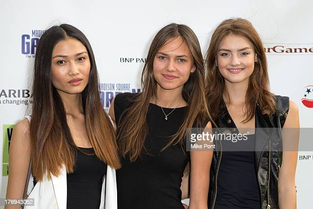 Models Yulia Saparniyazova Marta Stempniak and Vika Levina attend the 7th Annual BNP Paribas Showdown Announcement at Local West on August 19 2013 in...