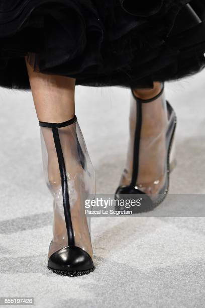 A modelshoe detail walks the runway during the Balmain show as part of the Paris Fashion Week Womenswear Spring/Summer 2018 on September 28 2017 in...