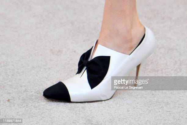 Model,shoe detail, walks the runway during the Chanel Haute Couture Fall/Winter 2019 2020 show as part of Paris Fashion Week on July 02, 2019 in...