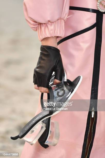 A modelshoe detail walks the runway during the Chanel show as part of the Paris Fashion Week Womenswear Spring/Summer 2019 on October 2 2018 in Paris...