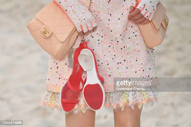 Model,shoe detail, walks the runway during the Chanel show as part of the Paris Fashion Week Womenswear Spring/Summer 2019 on October 2, 2018 in...