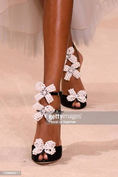 Model,shoe detail, walks the runway during the Giambattista Valli as part of the Paris Fashion Week Womenswear Fall/Winter 2020/2021 on March 02,...
