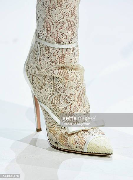 Model,shoe detail, walks the runway during the Giambattista Valli Haute Couture Fall/Winter 2016-2017 show as part of Paris Fashion Week on July 4,...