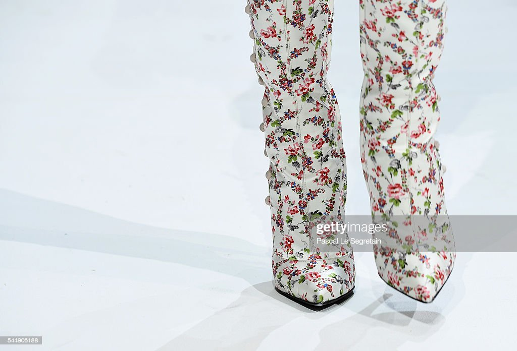 A model,shoe detail, walks the runway during the Giambattista Valli Haute Couture Fall/Winter 2016-2017 show as part of Paris Fashion Week on July 4, 2016 in Paris, France.