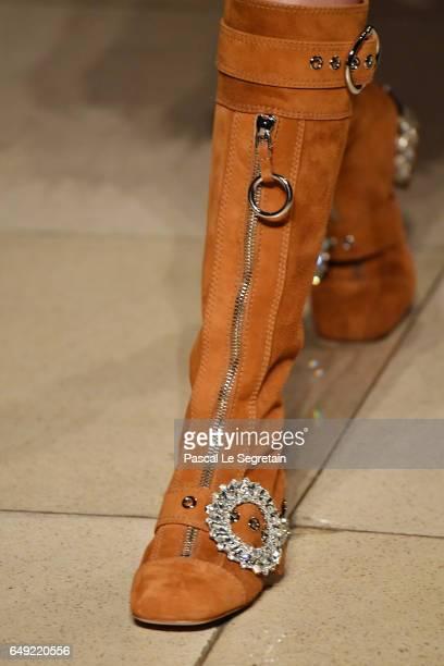 A modelshoe detail walks the runway during the Miu Miu show as part of the Paris Fashion Week Womenswear Fall/Winter 2017/2018 on March 7 2017 in...