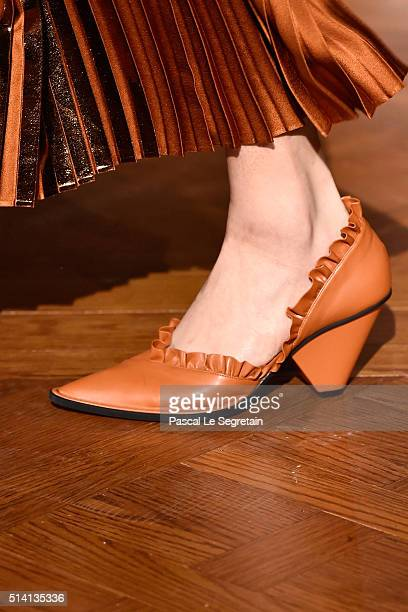 A modelshoe detail walks the runway during the Stella McCartney show as part of the Paris Fashion Week Womenswear Fall/Winter 2016/2017 on March 7...