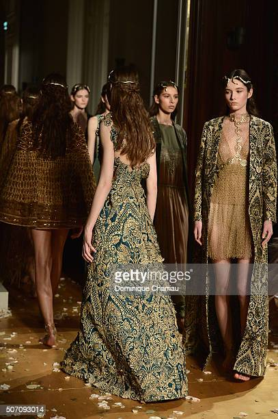 Modelsl walk the runway during the Valentino Haute Couture Spring Summer 2016 show as part of Paris Fashion Week on January 27 2016 in Paris France