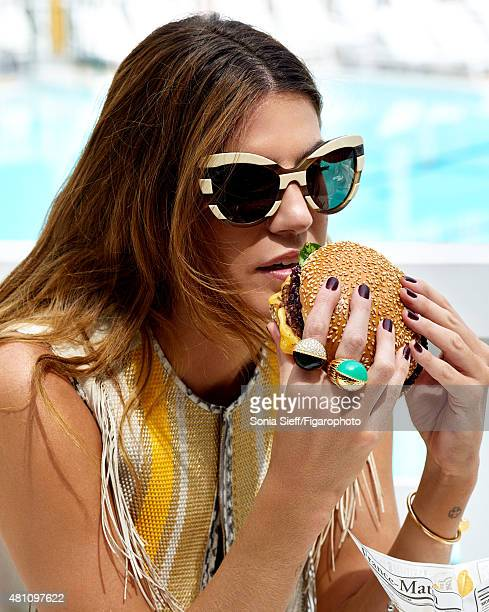 Model/socialite Bianca Brandolini d'Adda poses at a fashion shoot for Madame Figaro on May 13 2015 in Paris France Top rings from the Paris Nouvelle...