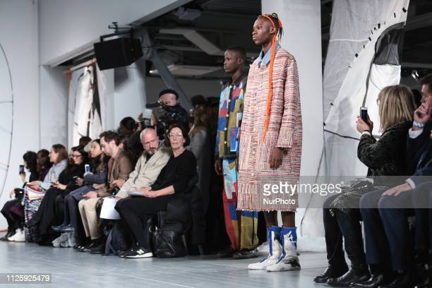Modelson the runway at the Bethany Williams show during London Fashion Week February 2019 at the BFC show space on February 19 2019 in London England...