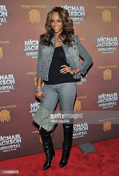 Model/television personality Tyra Banks attends Michael Jackson THE IMMORTAL World Tour show by Cirque du Soleil at Madison Square Garden on April 3...