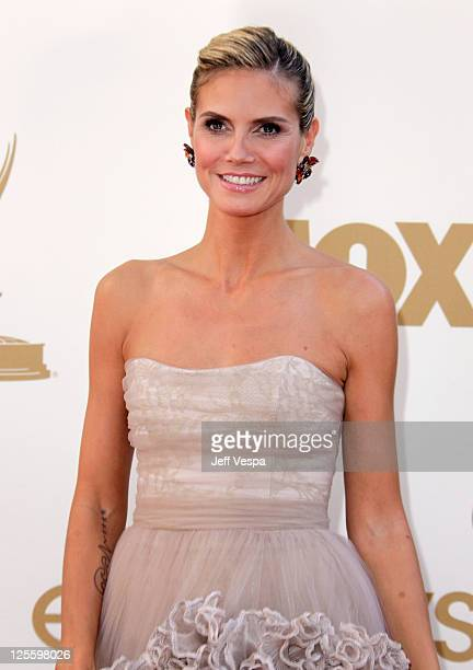 Model/TV host Heidi Klum arrives to the 63rd Primetime Emmy Awards at the Nokia Theatre LA Live on September 18 2011 in Los Angeles United States