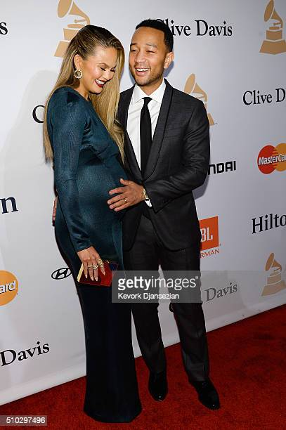 Model/TV personality Chrissy Teigen and recording artist John Legend attend the 2016 PreGRAMMY Gala and Salute to Industry Icons honoring Irving...