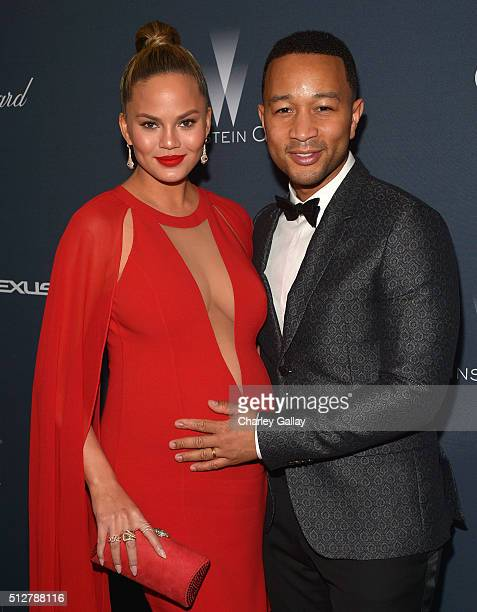 Model/TV personality Chrissy Teigen and recording artist John Legend attend The Weinstein Company's PreOscar Dinner presented in partnership with...
